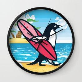 Penguin surfer sea island vacation beach gift Wall Clock