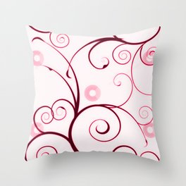 Cranberry Red Swirls and Circles Throw Pillow