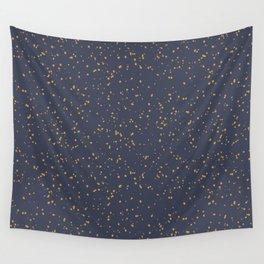 Speckles I: Dark Gold on Blue Vortex Wall Tapestry
