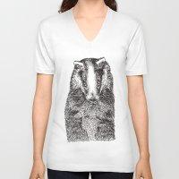 badger V-neck T-shirts featuring Badger by Meredith Mackworth-Praed