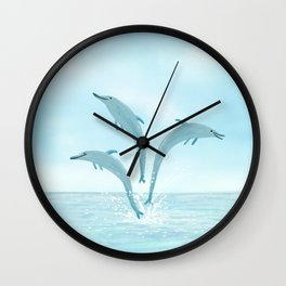 Jumping Dolphins Wall Clock