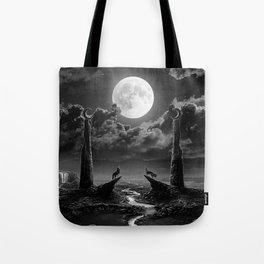 XVIII. The Moon Tarot Card Illustration Tote Bag