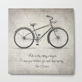 Albert Einstein Bicycle Quote Metal Print