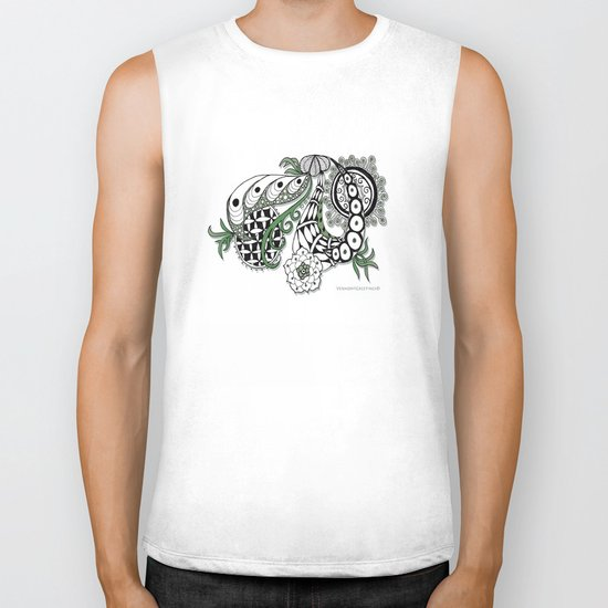 Zentangle Design - Black, White and Sage Illustration Biker Tank