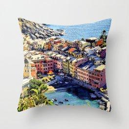 Cinque Terre Vernazza Village Mediterranean Coast, Italy Throw Pillow