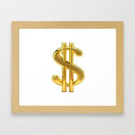 Gold Dollar Sign on White Framed Art Print