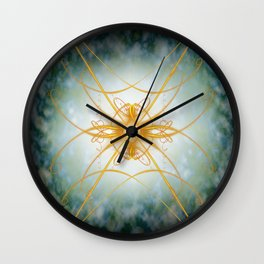 Gold filligree in space Wall Clock