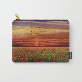Red Poppy Meadows | Oil Painting Carry-All Pouch