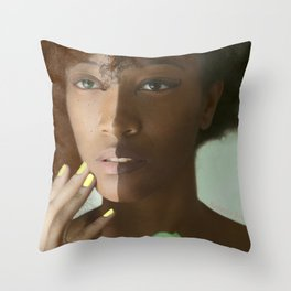 Colorism Split-Face Black Woman Throw Pillow