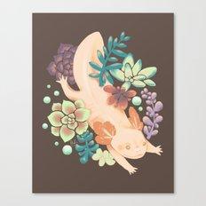 Axolotl & Succulents Canvas Print