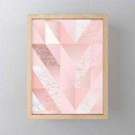 Rose Facet Marble Chevron Design  Framed Mini Art Print