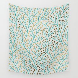 Berry Branches – Turquoise & Gold Wall Tapestry