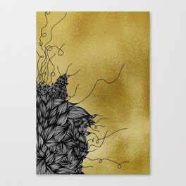 Unravelling Lines on Gold Illustration Canvas Print
