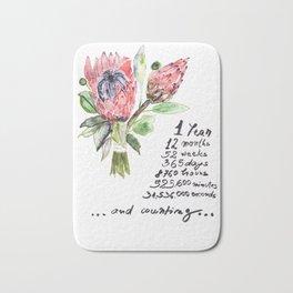 ONE YEAR ANNIVERSARY, Gift Warming gift,Protea Art Print Bath Mat