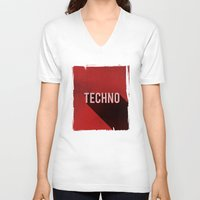techno V-neck T-shirts featuring Techno by Barbo's Art