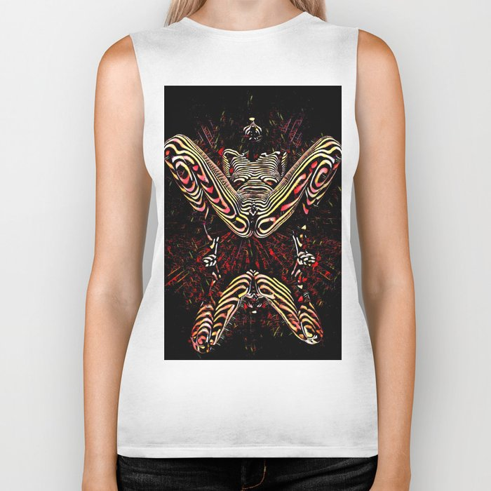 8755-KMA Submissive Woman on Mirror Presents Her Naked Body Zebra Striped Abstract Biker Tank