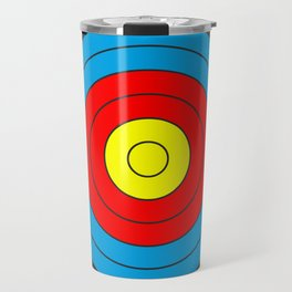Yellow, red, blue, black target on white background Travel Mug