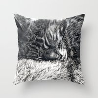 charlie Throw Pillows featuring Charlie by Lucy Schmidt Art