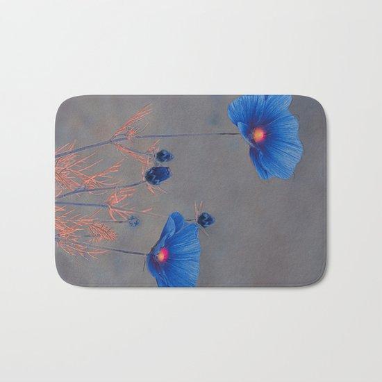 Blue flowers. Bath Mat