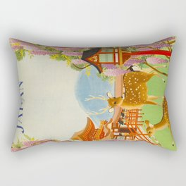 Vintage Mid Century Modern Japan Travel Poster Deer Red Pagoda Wisteria Garden Rectangular Pillow