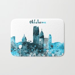 Oklahoma Monochrome Blue Skyline Bath Mat