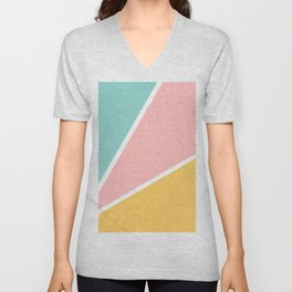 Tropical summer pastel pink turquoise yellow color block geometric pattern Unisex V-Neck