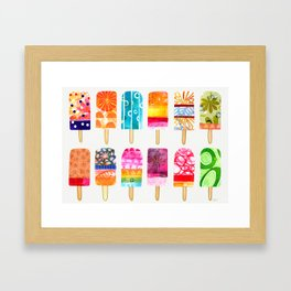 Summer day ice pops - rainbow popsicles Framed Art Print