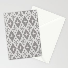 Mid Century Modern Atomic Triangle Pattern 710 Gray Stationery Cards
