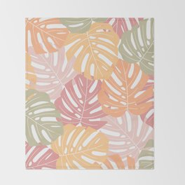 Monstera leaves Colorful Jungle leaves Palm leaves Tropical art Throw Blanket