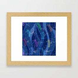Seahorse Song — Mult on Blue Framed Art Print