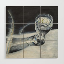 Glass of the water in the light Wood Wall Art