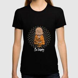 Be Happy Little Buddha on Mandala T-shirt