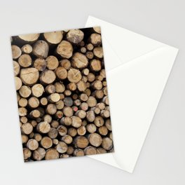 Wooden logs Stationery Cards