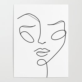 Lady face white Poster