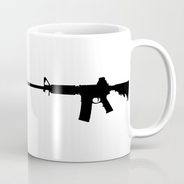 AR15 in black silhouette on white Coffee Mug