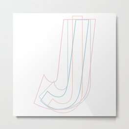 Intertwined Strength and Elegance of the Letter J Metal Print