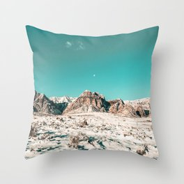 Vintage Picture Desert Snow // Winter Teal Blue Sky Red Rock Canyon Wilderness Park Photograph Throw Pillow