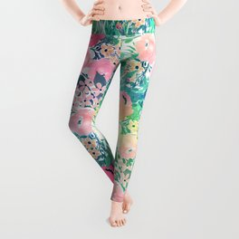 Pretty Pink Yellow & Green Watercolor floral paint Leggings