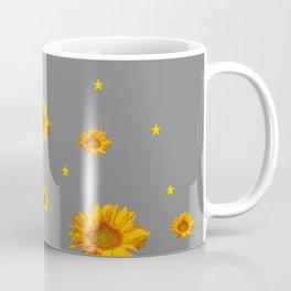 RAINING GOLDEN STARS YELLOW SUNFLOWERS GREY COLOR Coffee Mug
