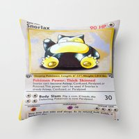 snorlax Throw Pillows featuring Snorlax Card by Neon Monsters