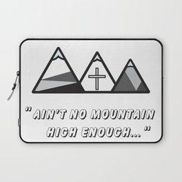 Geometric mountains, christian art, cross, 3 mountains, 3, ain't no mountain high enough qoute Laptop Sleeve