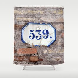 Number 539 on brick wall Shower Curtain