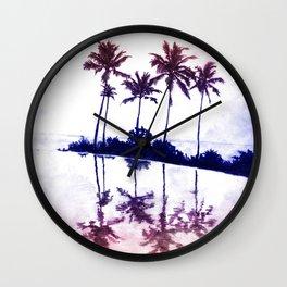 Palm Tree Reflections Sunset Wall Clock