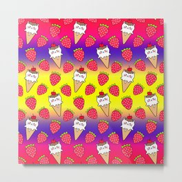Cute funny sweet adorable little baby kitten ice cream cones with sprinkles and red ripe summer strawberries cartoon bright yellow purple pattern design Metal Print