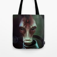 mass effect Tote Bags featuring Mass Effect: Mordin Solus by Ruthie Hammerschlag