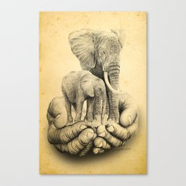 Refuge Elephants Drawing Canvas Print