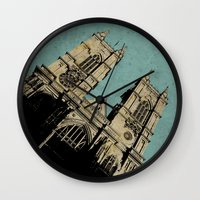 downton abbey Wall Clocks featuring Westminster Abbey by sinonelineman