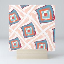 Pattern flying squares Mini Art Print