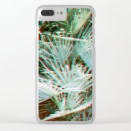 Glitch art / retro 3D style photography | Green, Turquoise, Cyan and pink tropical leaves Clear iPhone Case