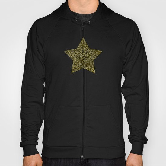 Black and faux gold swirls doodles Hoody